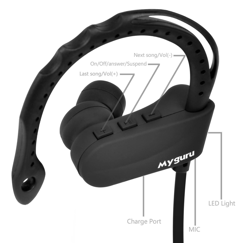 Sport Auriculares, myguru Q12 bluetooth headset inalámbrico in-ear Sport con Calling micrófono manos libres para IOS y Android Teléfono Samsung iPhone iPad ...