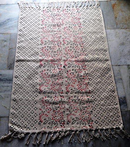 silkroude Alfombra de algodón con Estampado de Bloque de Mano turca Kilim, Hecha a Mano de algodón Dhurrie Yoga Mat: Amazon.es: Hogar
