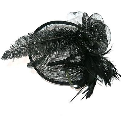Tocado para cabello (tamaño grande), diseño con plumas, color negro