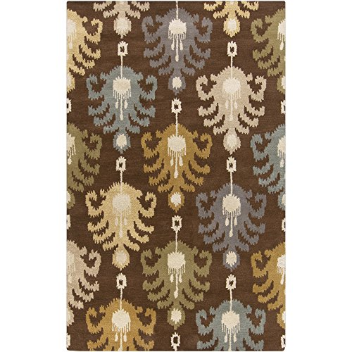 Surya MAT5452-3353 Hand Tufted Casual Accent Rug, 3-Feet 3-Inch by 5-Feet 3-Inch, Chocolate/Olive/Slate/Sea Foam/Lime (3353 Chocolate)