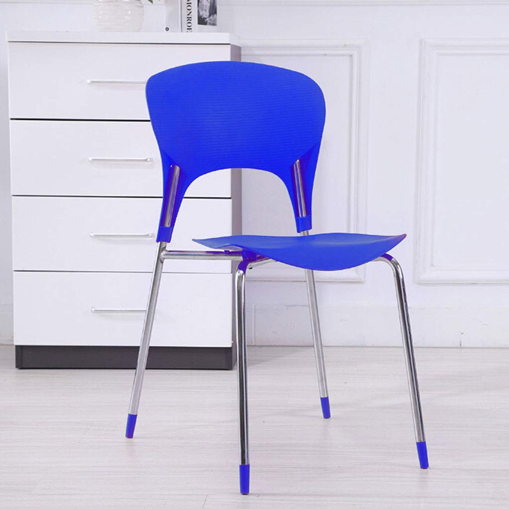 bluee L41.5CMXW41CMXH79CM CHX Creative Back Home Dining Chair Fashion Office Thick Plastic Chair C (color   bluee, Size   L41.5CMXW41CMXH79CM)