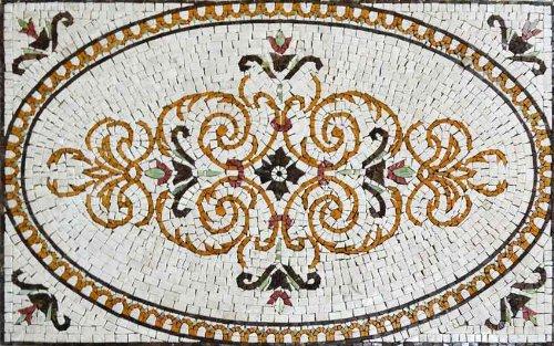 Mozaico Arabesque Marble Rug Mosaic - Sand | Mosaic Designs | Mosaic Artwork | Mosaic Wall Art Handmade Mosaics | 35