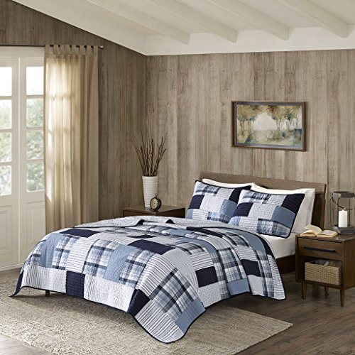 Riverview Reversible Oversized Cotton Quilt Mini Set Blue King/Cal King (Woolrich Shade)
