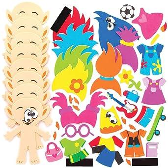 per progetti di artigianato artistico per bambini Baker Ross AT893 Kit Calamite Mix/&Match Teste Pelose confezione da 8 assortiti