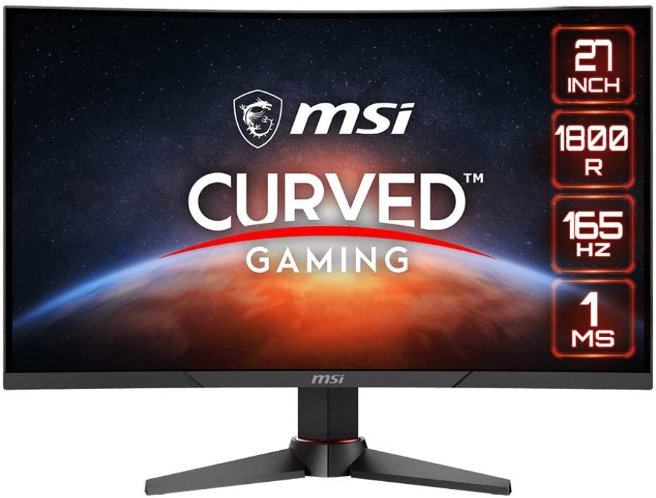"MSI Optix MAG270VC2 FHD 1800R Curvature 16:9 Aspect Ratio Non-Glare Super Narrow Bezel 1ms 1920 x 1080 165Hz Refresh Rate Tilt/Swivel/Height Adjustment AMD FreeSync 27"" Curved Gaming Monitor, Black"