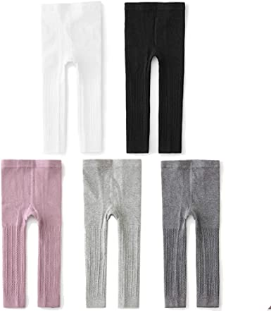 3//5 Pack Baby Little Girls Ankle Cable Knit Leggings Pants Kids Footless Tights Stocking