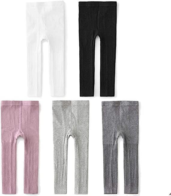 Leggings Small , Black Cable//Black Plain//Gray Stride Rite Girls Fleece Footless tights- 3 pairs Age 2-4