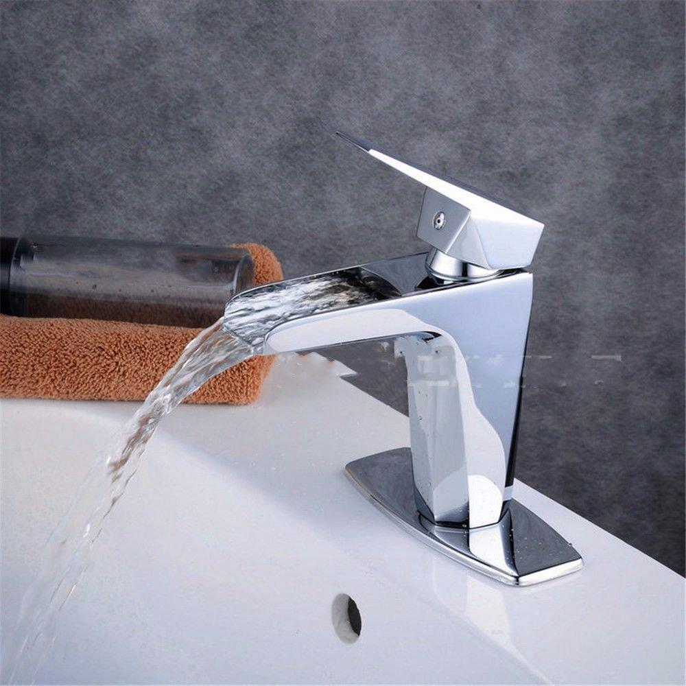 ETERNAL QUALITY Badezimmer Wasserhahn Messing Hahn Waschraum Mischer Waschbecken Kaltes Wasser Waschbecken Wasserfall abgesenkt Becken voll Kupfer Beschläge Tippen Küchenspüle Arma