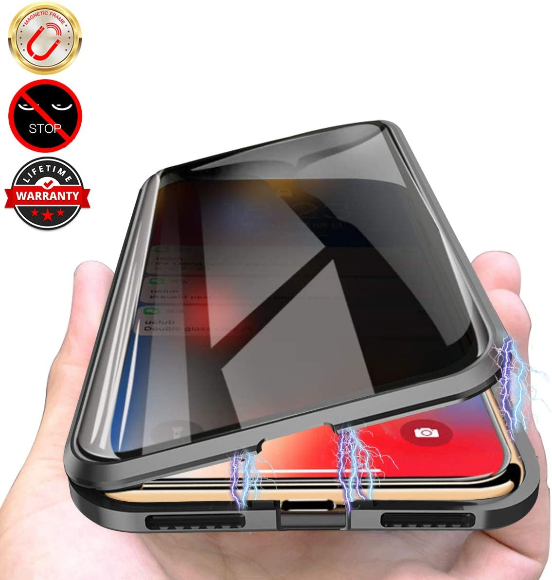 Magnet Absorption Metal Bumper Frame Clear Double Sided Tempered Glass Thin Anti-Spy 360 Full Protective Phone Case for iPhone X//XS 5.8 Black Privacy Magnetic Case for iPhone X//XS