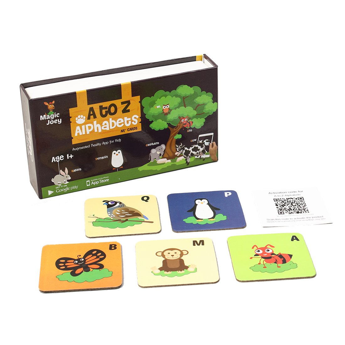Augment Works Magic Joey Augmented Reality 26 Flash Cards A-Z Alphabets With Animals, Birds And Insects In 3D product image