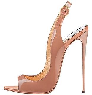 ceb3d395f7a9d7 EDEFS Femmes Artisan Fashion Sandales Décolletés Bout Ouverts Chaussures à Talon  Haut de 120mm Noir