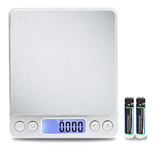 TekSky 500G/0.01G Digital Kitchen Scale - Tare & PCS Function, 6 Units, Back-Lit LCD, Pocket-Size, Battery Powered - Silver