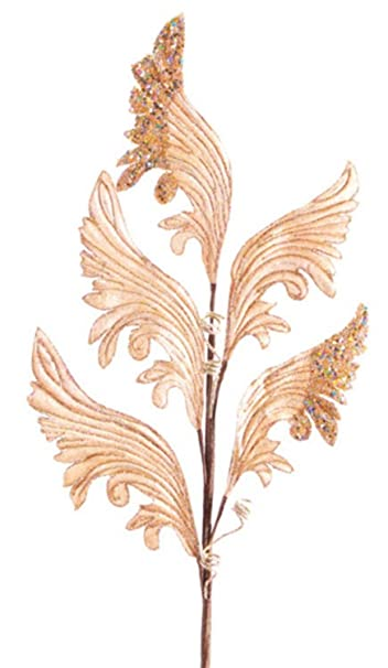 Rich Velvet Champagne Gold Glittered Edged Artificial Leaf Sprays - Pack of 12