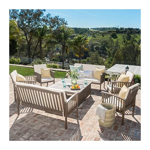 "Christopher Knight Home Beckley Patio Furniture 8 Piece Acacia Wood Outdoor Chat Set (Grey Finish) - Includes: Four (4) Club Chairs, Two (2) Loveseats, and Two (2) Coffee Tables Dimensions: Loveseat 25"" D x 55.25"" W x 34"" H 