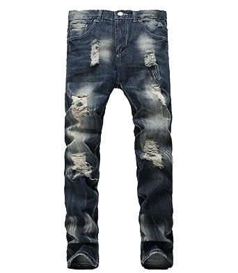 c30d97c95723 Highisa Men s High Waist Flag Print Thin Broken Holes Cowboy Relaxed-Fit  Jean Dark Blue
