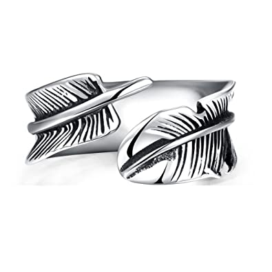 Titanium Feather Open Rings Unisex Adjustable Size Punk Party Fashion Jewelry jWBVC