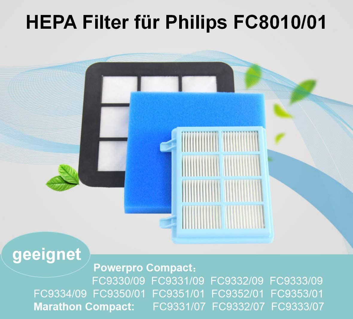 E.For.U Filter Set para Philips FC9331/09,FC9332/09 etc. Aspirador sin Bolsa PowerPro Compact. (comparable con FC8010/01): Amazon.es: Hogar