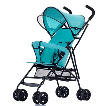 WUZHI Cochecito De Bebé Carrito Ligero Plegable Portátil Reclinable Carro De Niños Simple Bebé,Blue