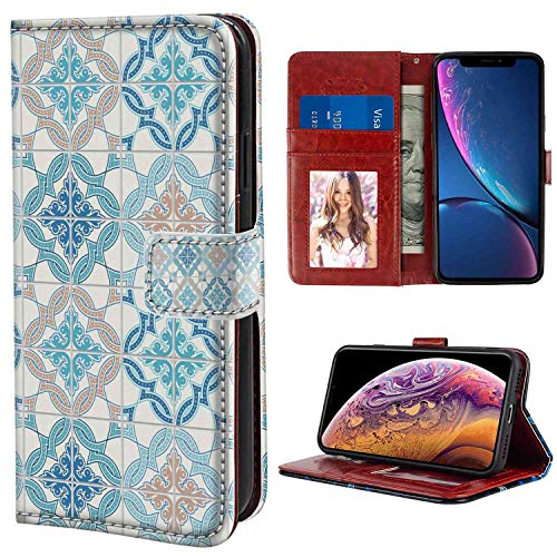 - iPhone Xr Wallet Case, Quatrefoil Tangled Modern Lisbon Pattern Based on Traditional Oriental Arabesque Tiles Blue Tan White PU Leather Folio Case with Card Holder and ID Coin Slot