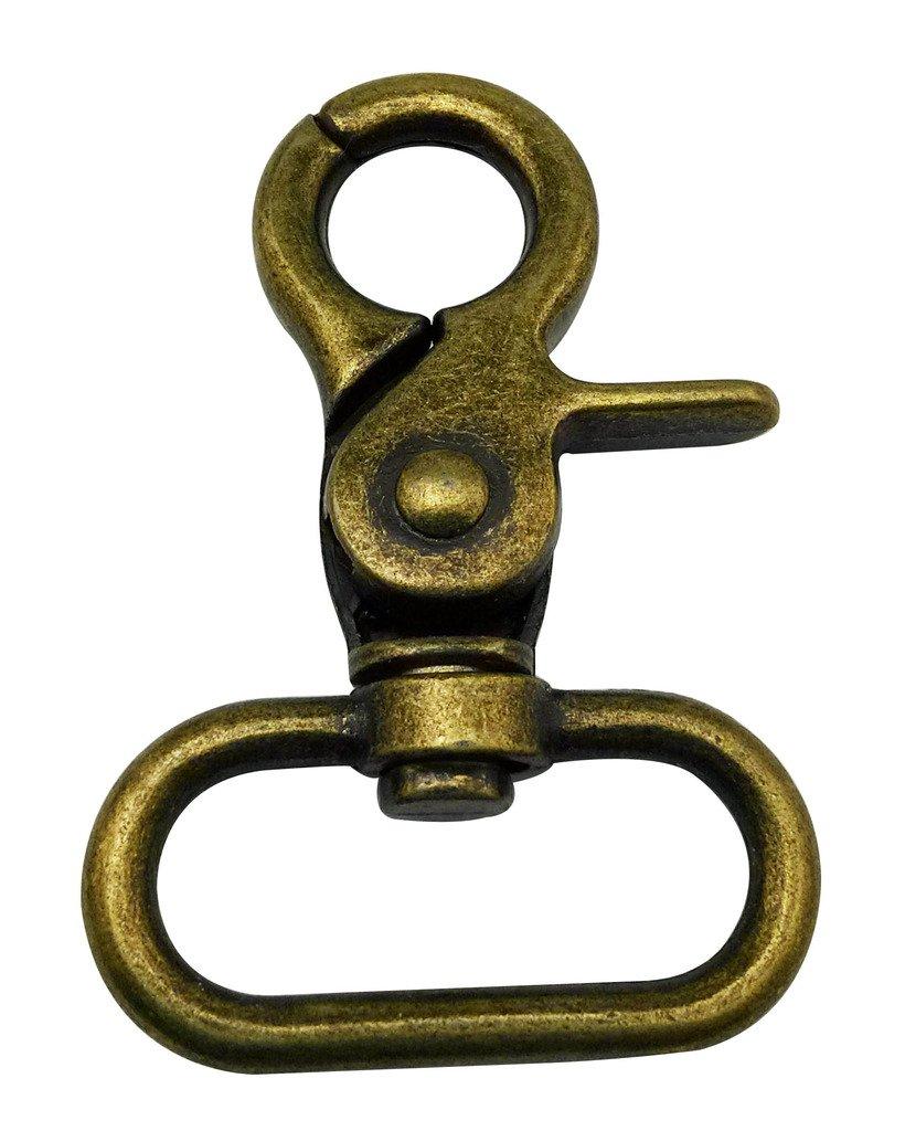 Gancio ovale Tianbang bronzo 3,05 cm (1,2) diametro interno con clip ganci Trigger-Borsetta per cinghie, confezione da 6