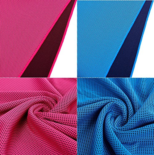 Gerneric Cooling Towel Chilly Pad (Pack of 2) Ice Scarf Bandana For Running Biking Hiking Gym Yoga Golf Working in Hot Environment(Red & Blue)