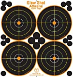 colored shooting targets - 25 Pack - 4 Bullseye - Reactive Splatter Targets - Adhesive Multicolor Version- GlowShot - Gun and Rifle Targets
