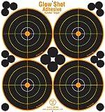 4 inch target - 25 Pack - 4 Bullseye - Reactive Splatter Targets - Adhesive Multicolor Version- GlowShot - Gun and Rifle Targets