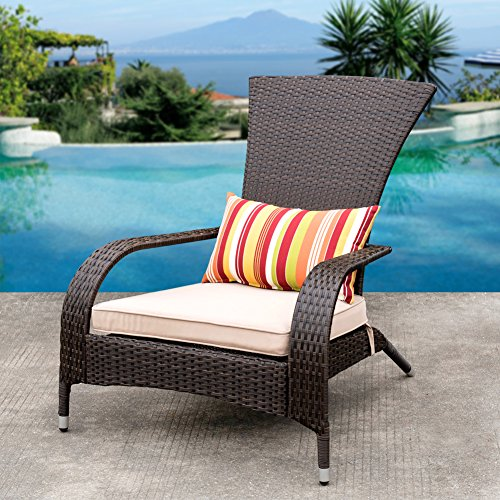 Adirondack Lounge Chair Set (Sundale Outdoor Deluxe Wicker Adirondack Chair Outdoor Patio Yard Furniture All-weather with Cushion and Pillow)