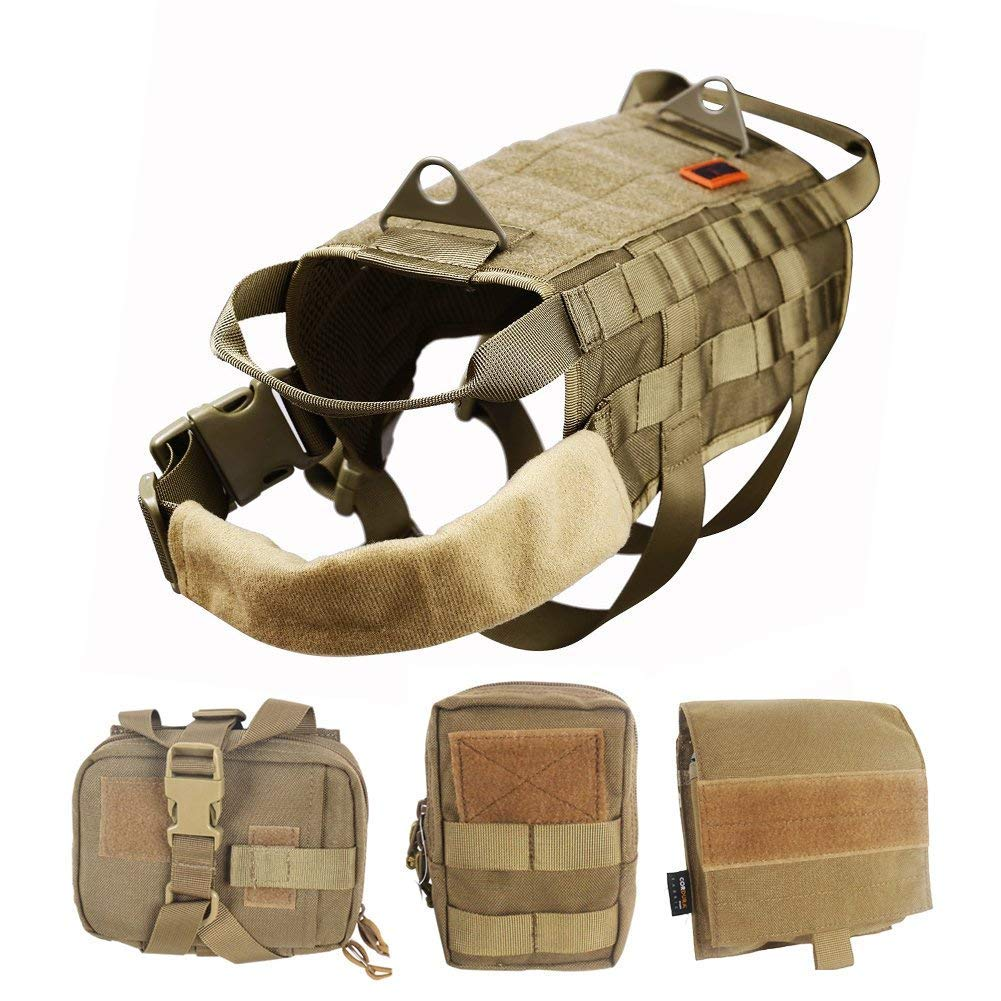 OneTigris Tactical MOLLE Harness for Dogs Dog Training Harness with Easily Removable Utility Velcro Pocket Accessory Bag