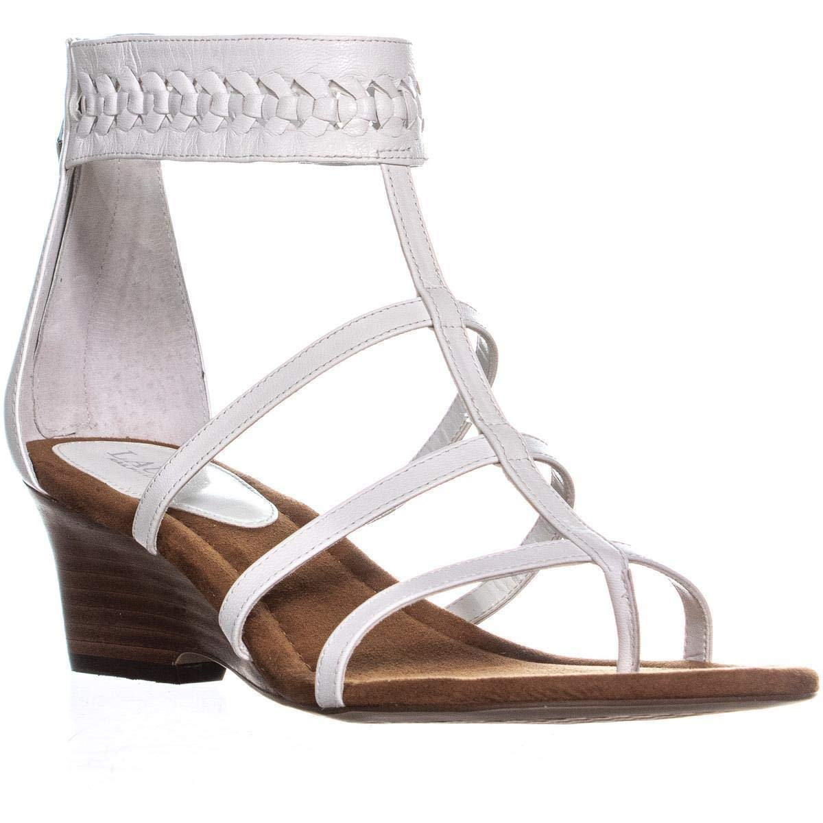 White Leather Lauren Ralph Lauren Meira Wedge Gladiator Sandals, Silver