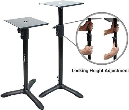 Amazon Com Harmony Audio Ha Bkspks Home Audio Studio Monitor Adjustable Height Bookshelf Speaker Stand Pair Musical Instruments