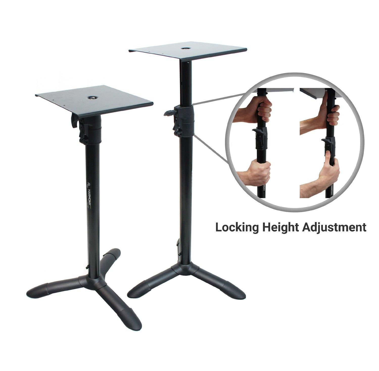 Harmony Audio HA-BKSPKS Home Audio - Studio Monitor Adjustable Height Bookshelf Speaker Stand Pair by Harmony Audio