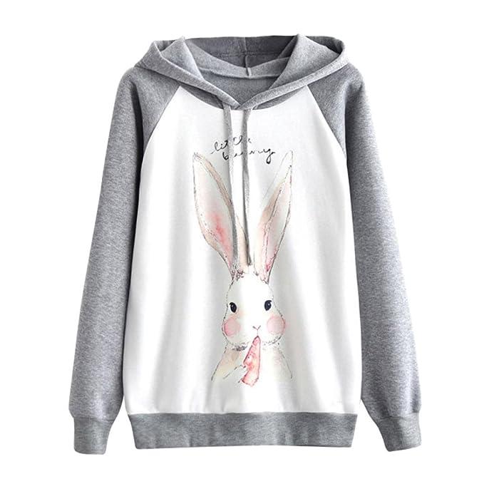 Koly Moda Algodón Linda Impresión Conejo Sudaderas con Capucha Mujer Largas Moda Suéter Sweatshirt Jumper Sweatshirt