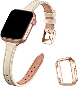 STIROLL Slim Leather Bands Compatible with Apple Watch Band 38mm 40mm 42mm 44mm, Top Grain Leather Watch Thin Wristband for iWatch SE Series 6/5/4/3/2/1 (Beige with Rose Gold, 42mm/44mm)