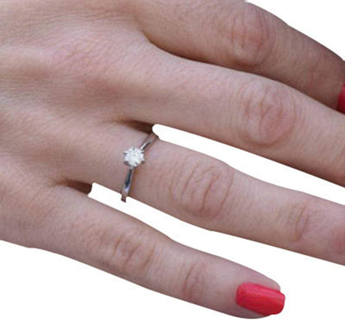 Rouku Para Nicole Jewelry Anillo de Diamantes clásico Anillo de Piedras Individuales de Diamantes Anillo de Compromiso Art Deco Oro Platino