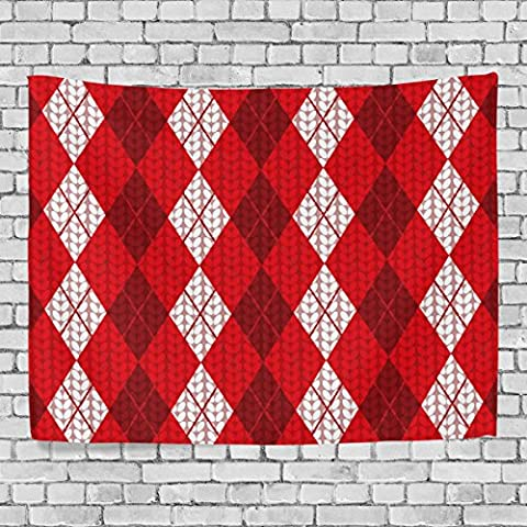WellLee Merry Christmas Wall Tapestry,Xmas Red Diamond Plaid Stripe ,Home Decor Tapestry Wall Hanging for Dorm Throw Living - Prince Hand Painted Wall Hanging