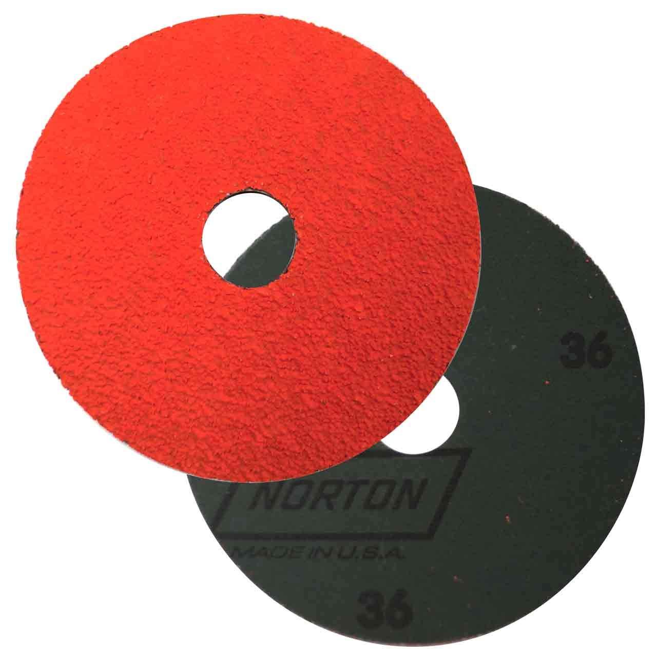 Norton SG Blaze F980 Abrasive Disc, Fiber Backing, Ceramic Aluminum Oxide, 7/8'' Arbor, 4-1/2'' Diameter, Grit 36 (Box of 25)