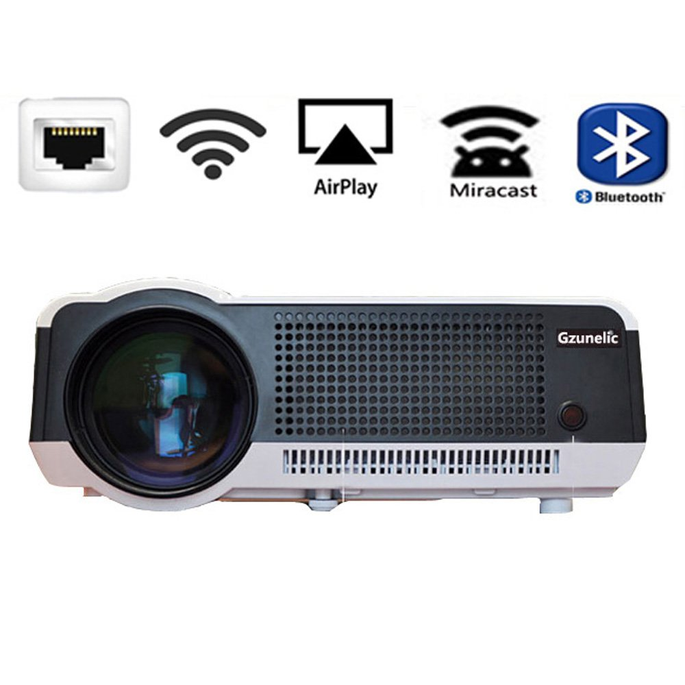 Gzunelic 5500 lumens Android WiFi 1080p Video Projector LCD LED Full HD Theater Proyector with Bluetooth Wireless Synchronize to Smart Phone by ...