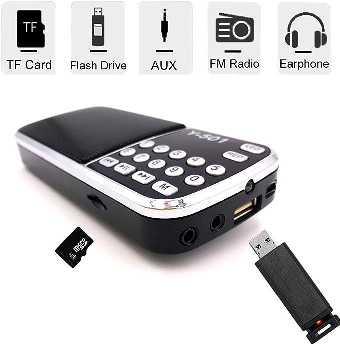 Totento Mini Radio Portátil FM SD USB MP3 Bateria Recargable ...