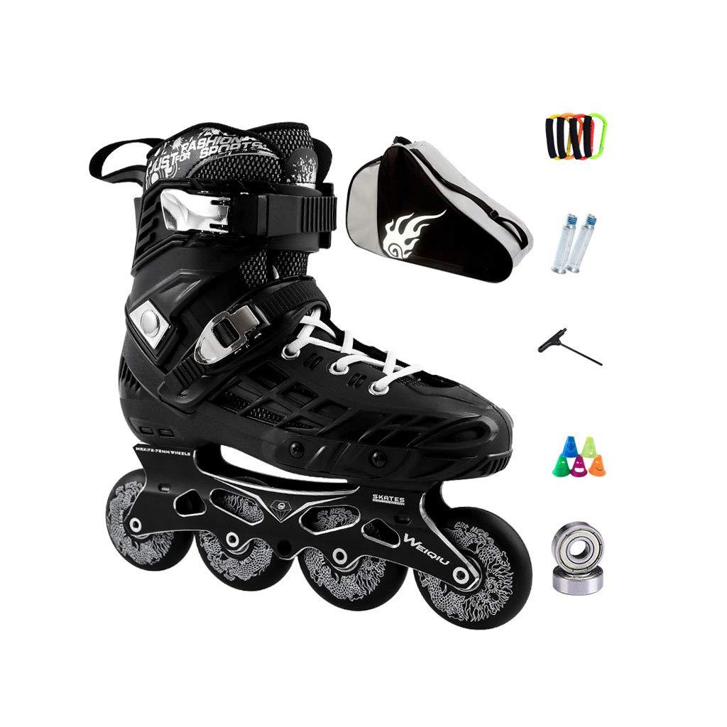 ailj インラインスケート、スケート、大人男児と女児、ローラースケート、プロフェッショナルコンビネーション、多機能スケート(2色) ブラック EU 35/US 4/UK 3/JP 22.5cm