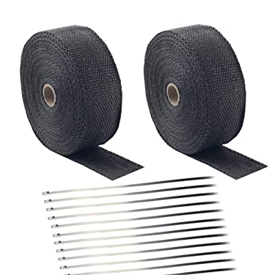 "Foneso 2"" x 50' Black Exhaust Heat Wrap Roll for Motorcycle Fiberglass Heat Shield Tape with Stainless Ties (2 Roll + 24 Ties Kit): Automotive"