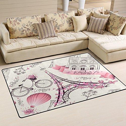 Sunlome Pink Paris Eiffel Tower Landmark Area Rug Rugs Non-Slip Indoor Outdoor Floor Mat Doormats for Home Decor 60 x 39 inches]()