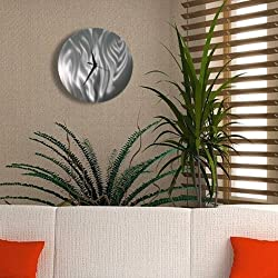 All Natural Silver Etched Modern Metal Wall Clock - Abstract Functional Art - Contemporary Timepiece - Time After Time By Jon Allen - 11-inch