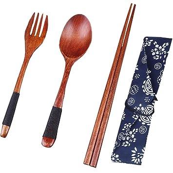 Mittagessen Geschirr Japanische Art Holzlöffel Gabel Essstäbchen