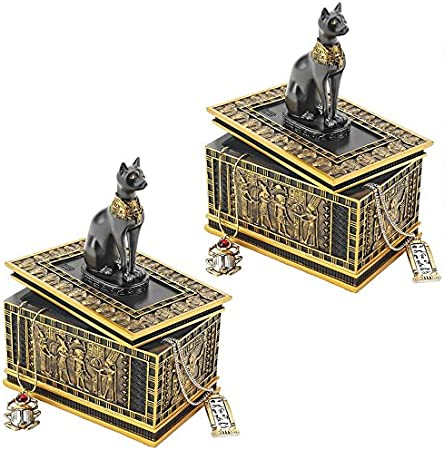 Design Toscano Royal Bastet Cat Goddess Egyptian Jewelry Box Statue, 6 Inch, Set of Two, Polyresin, Black and Gold