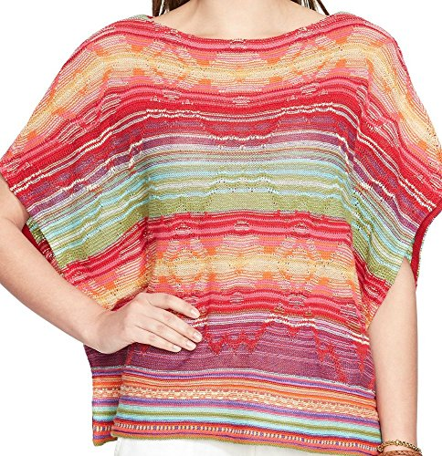 Lauren Ralph Lauren Womens Striped Woven Poncho Sweater ()
