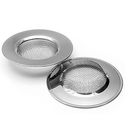 2pcs Stainless Steel Slop Basket Filter Trap Mesh Metal Sink