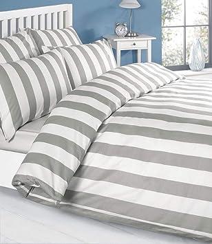 Bettwäsche Grau Weiss Weiß Gestreiften 100 Baumwolle 2 X