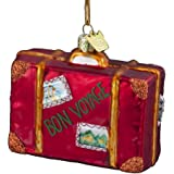 "Kurt Adler 3-1/2-Inch Noble Gems Glass ""Bon Voyage"" Suitcase Ornament"
