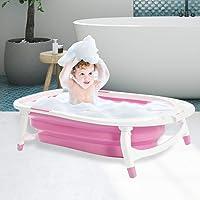 Baby Bath Tub Infant Toddlers Foldable Bathtub Folding Safety Bathing ShowerPink Pink